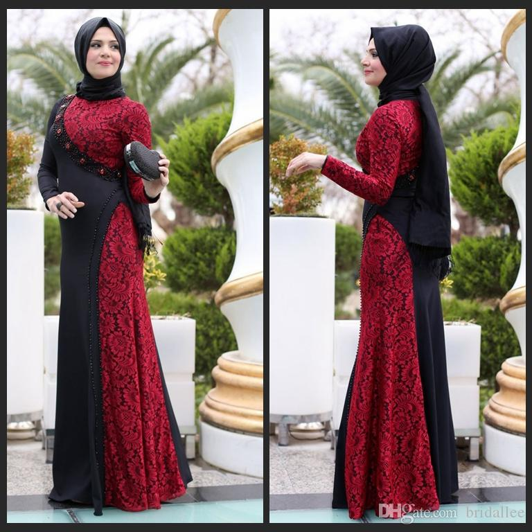 The Newest Design Black Red Long Arab Muslim Evening Dresses A Line ...