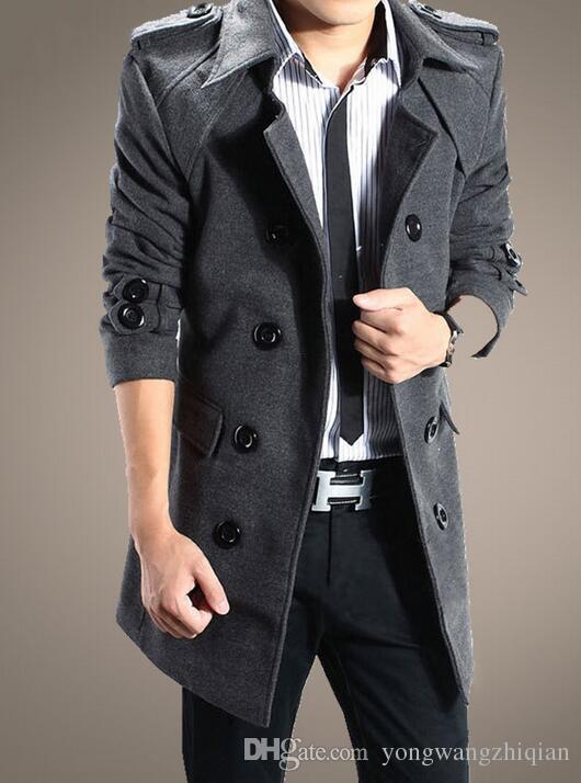 Qiu dong temporada nova trench coat Han edição do longo casaco de lã casaco trespassado cultivar a moralidade casaco de pele dos homens casaco Dus