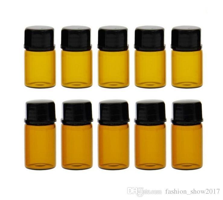 1 ml vide verre bouteille de billes de rouleau ambré jarres fioles avec bouchon pour bouteilles d'huile essentielle de parfum cosmétique