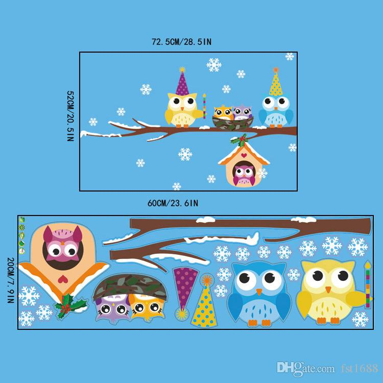 AW3017AB Christmas Snowflake Owls Printed Wall Stickers Home Decor Branches Bird Owls with Xmas Hats Decal for Baby Kids Shop Window