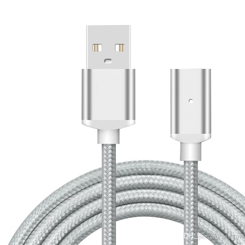 كابل شحن مغناطيسي كابل مايكرو USB نايلون مضفر عالي السرعة من النوع ج شاحن 3.3ft 1M لالروبوت Samsung الهاتف مع حزمة البيع بالتجزئة