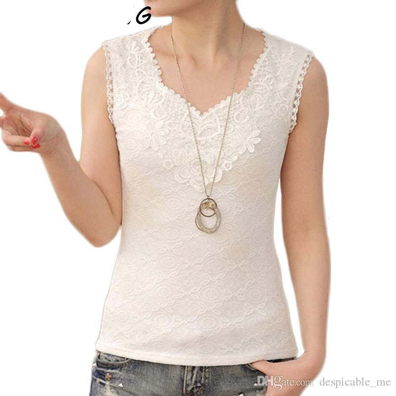 ccab2e3db5e 2017 New Summer Flower Lace Tank Top Women Sleeveless Sexy V Neck Silk  Basic Embroidery Blusas Vest Camisole Crop Tops Online with  34.9 Piece on  ...