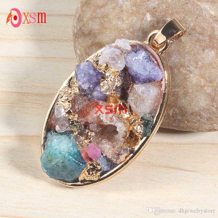 Großhandel 10 Stücke Exquisite Shiny Gold Überzogene Natürliche Druzy Bunte Kristall Kies Multi Style Anhänger Charme Schmuck