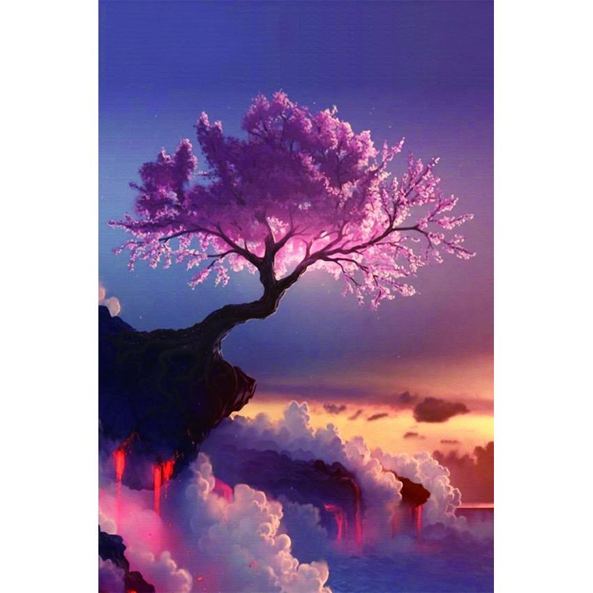 Satın Al Kiraz Ağacı Tam Matkap Diy Mozaik Iğne Elmas Boyama Nakış