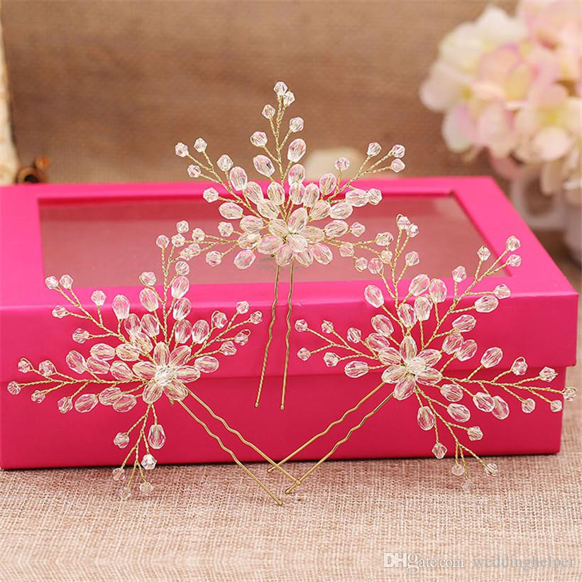 Wholesale Hair U Pins Gold Crystal Rhinestone Hair Accessories Wedding Bridal Headpieces Beaded Crown Tiara Party Headdress Clips