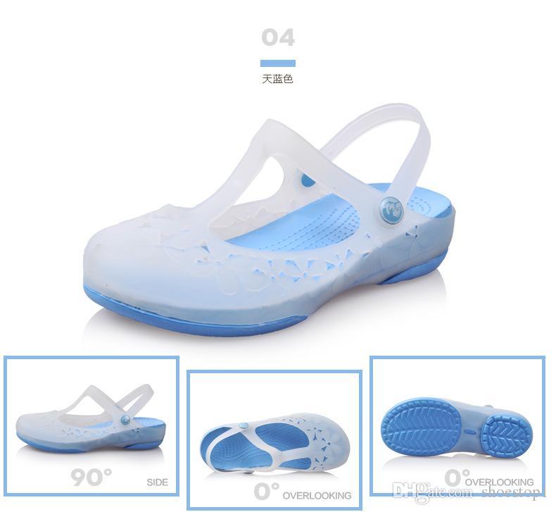 cae78ce38d9 2017 New Women Summer Jelly Shoes Beach Sandals Hollow Slippers Flip Flops Women  Light Sandalias Women Beach Shoes Saltwater Sandals Designer Shoes From ...