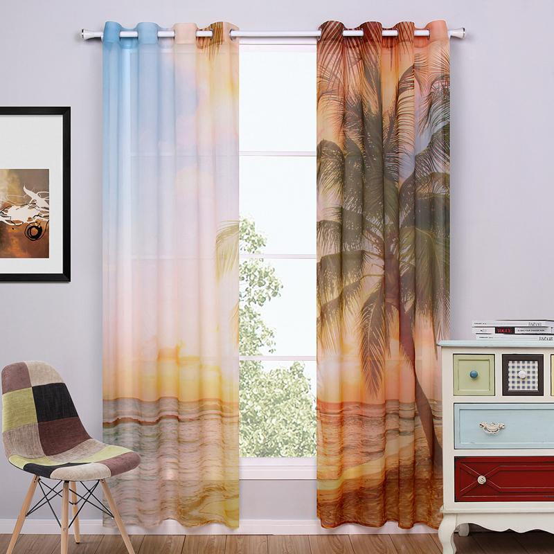 Superior Beach Window Curtains Part - 8: 2017 2016 New Window Curtain For Living Room Blue Sheer Curtains Punching  Printed Hawaii Beach Window Screening Curtain Includes 2 Panel Of Each From  ...