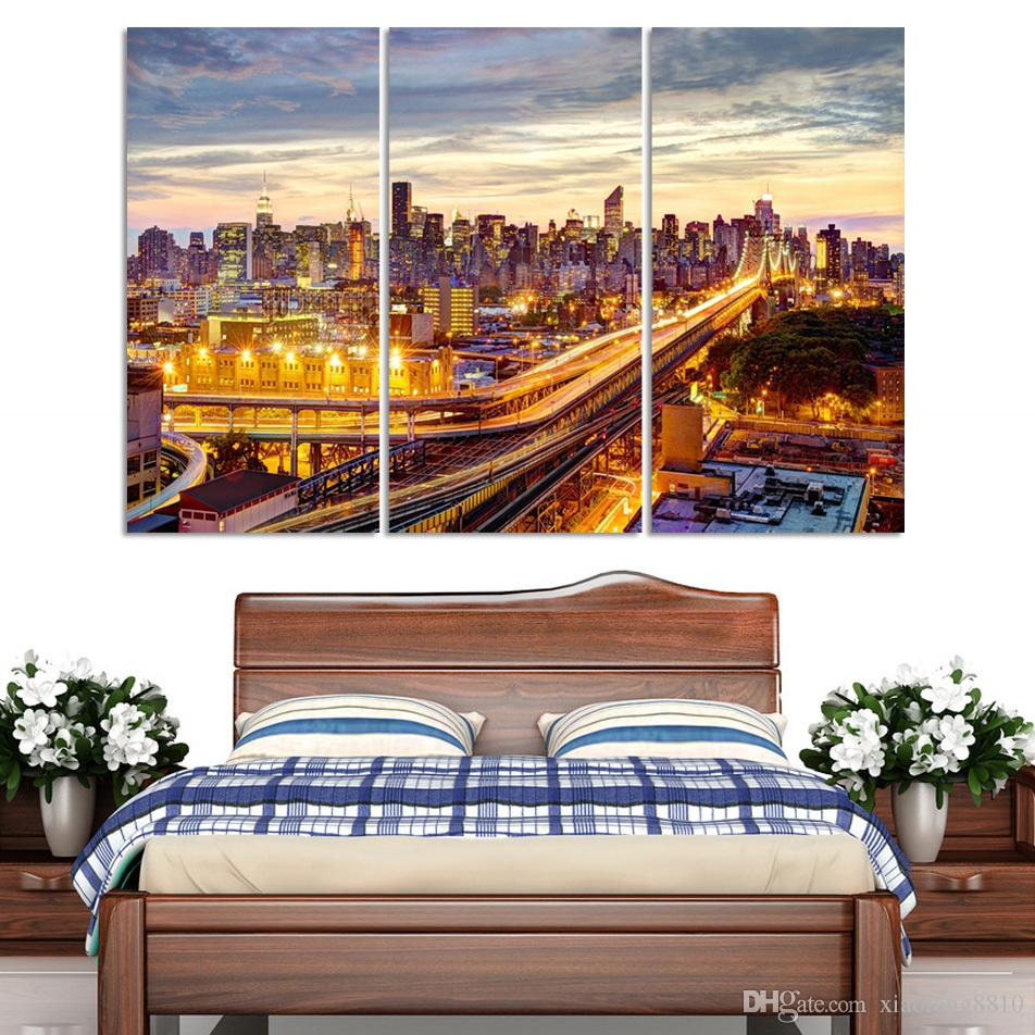 Modern Picture Canvas Painting Wall Pictures For Living Room Quadro Cuadros Decoration Paris City building No frame
