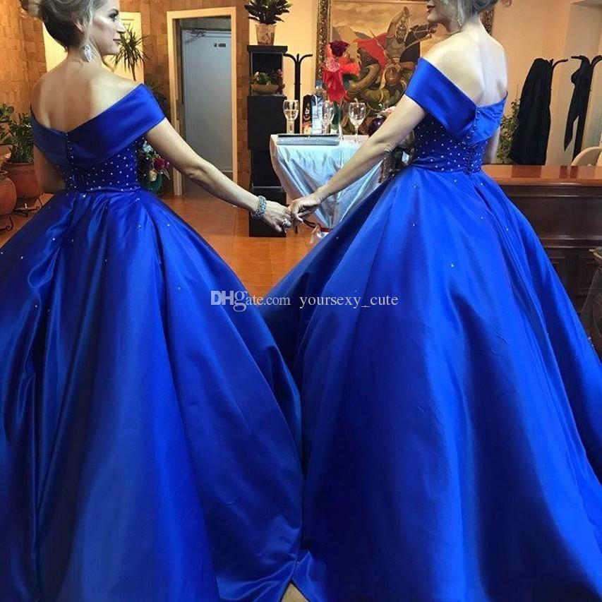 Royal Blue Ball Gown Prom Dresses Off spalla in rilievo di raso Plus Size Backless Mamma e Me abiti da sera Madre e figlia Party Dress
