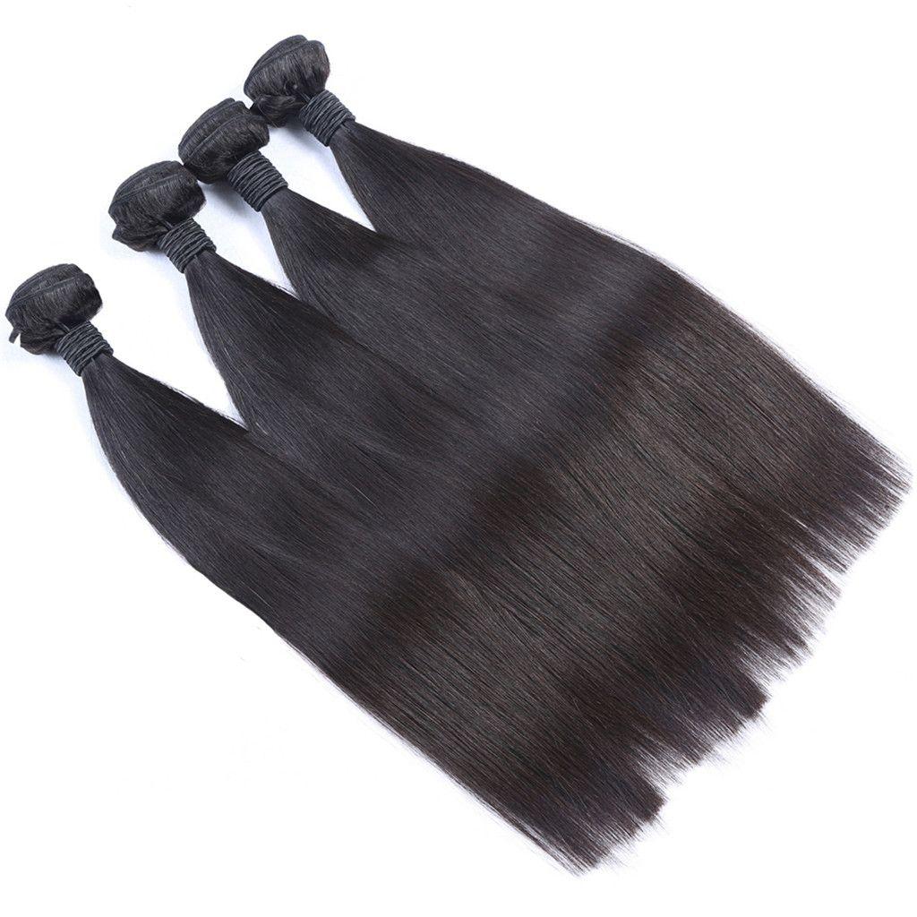 Straight Human Hair Weave Bundles With Silk Base Lace Frontal Closure Natural Black 100% Human Hair LaurieJ Hair