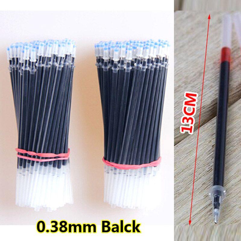 Envío gratis 100 unidades / lote tinta de gel pluma recarga núcleo 0.38 mm recambios de agujas Tinta de gel reemplazar Office School Supplies Papelaria