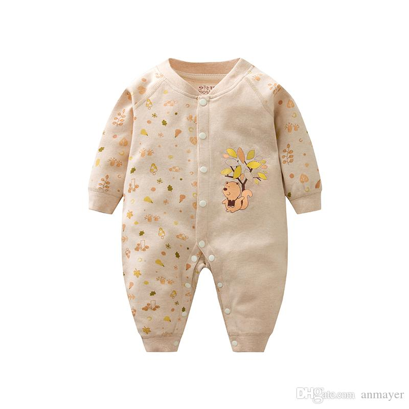 2018 0 24m New Born Baby Nature Colored Cotton Rompers Boy Girl