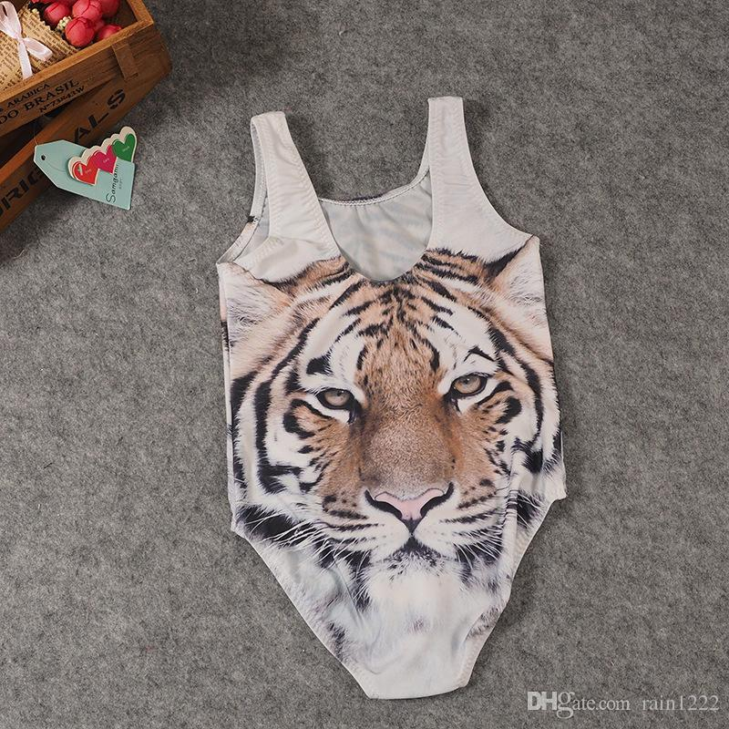 New Children Swimsuits Swimwear Beach Wear Girls 3D Tiger Swimwear One-piece Swiming Suits Kids Bathing Suits Swiming Clothes For 1-6T