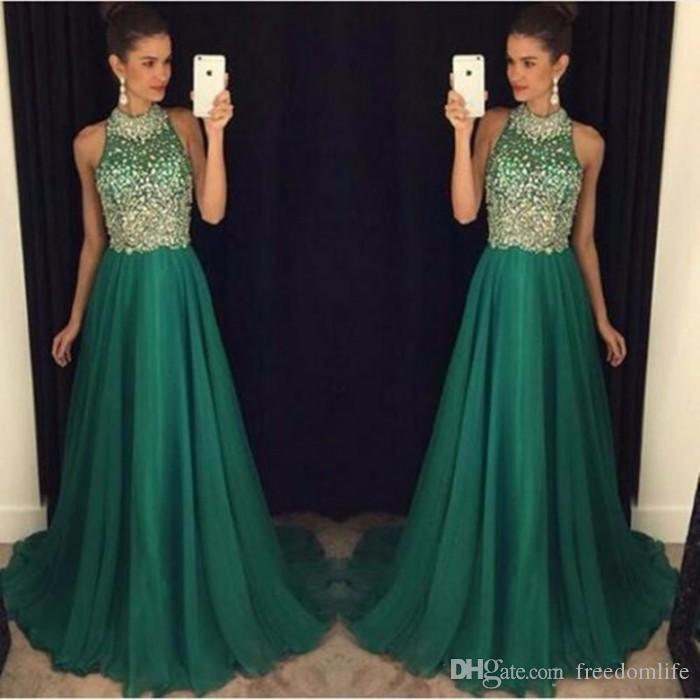 Dark Green Prom Dresses Crystal Beaded Green Women A Line Chiffon