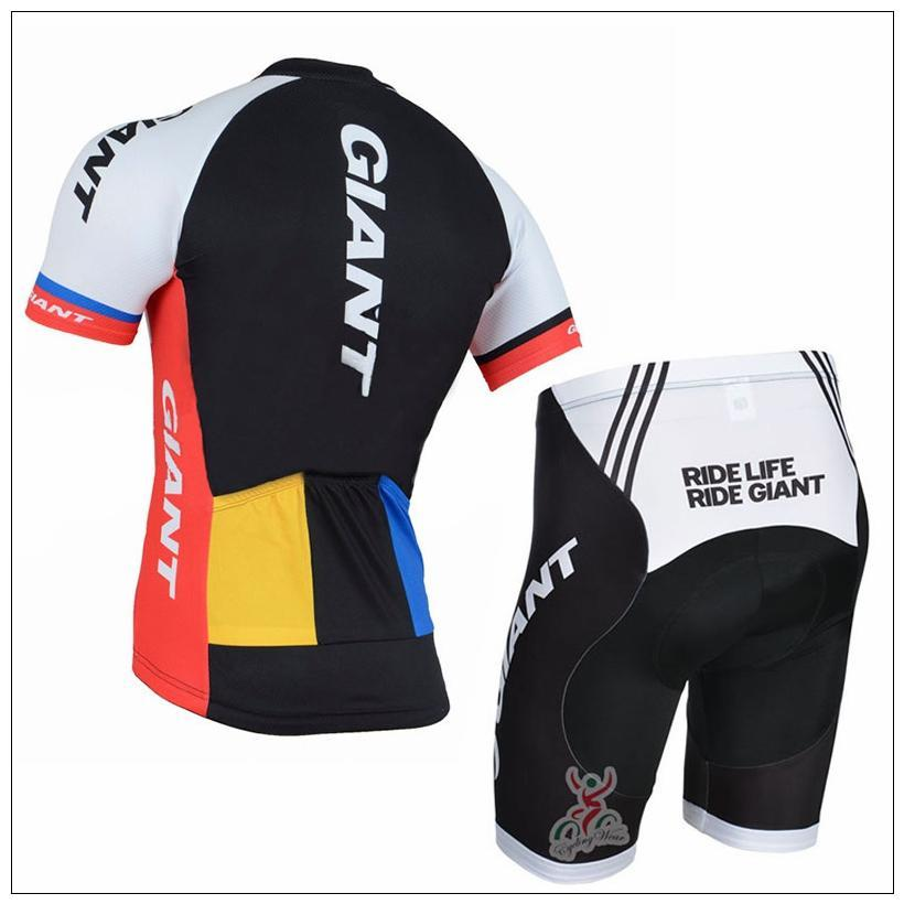 Cheap Giant Short Sleeves Cycling Jerseys Set Team Ciclismo Breathable Bicycle Clothing Quick-Dry GEL Pad Mountain Bike Bib Shorts
