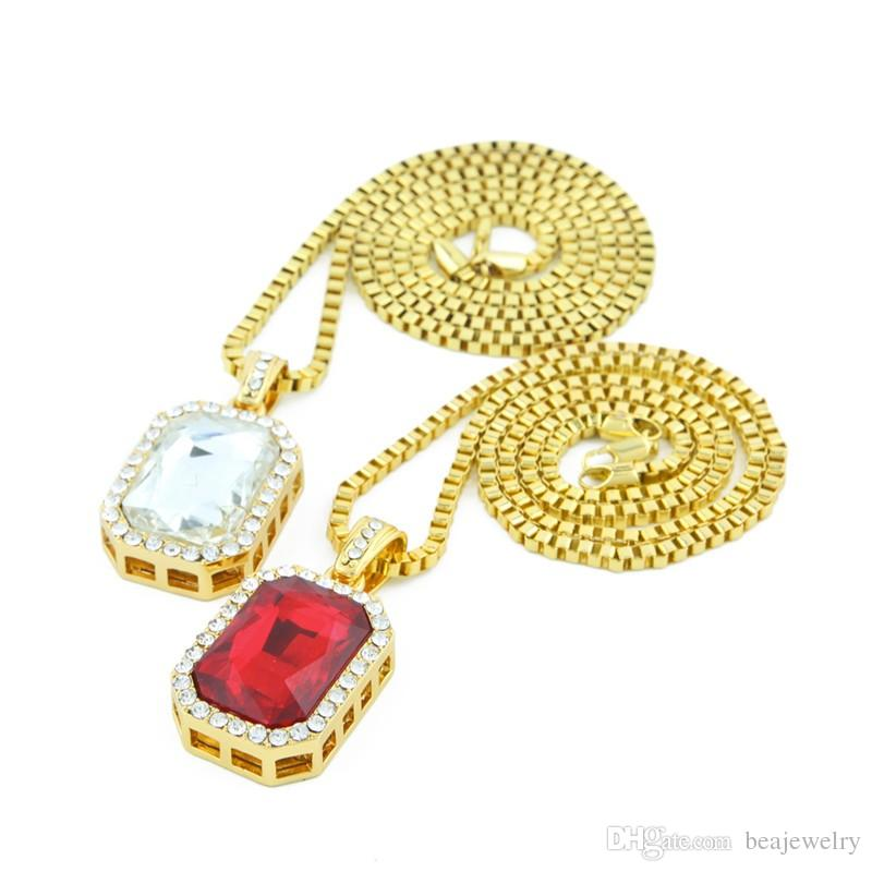 "Micro Ruby Red & Black Square Pendant set 2.4mm 24"" Box Chain Gold Tone Iced Out Necklace hiphop gold chains for men women"