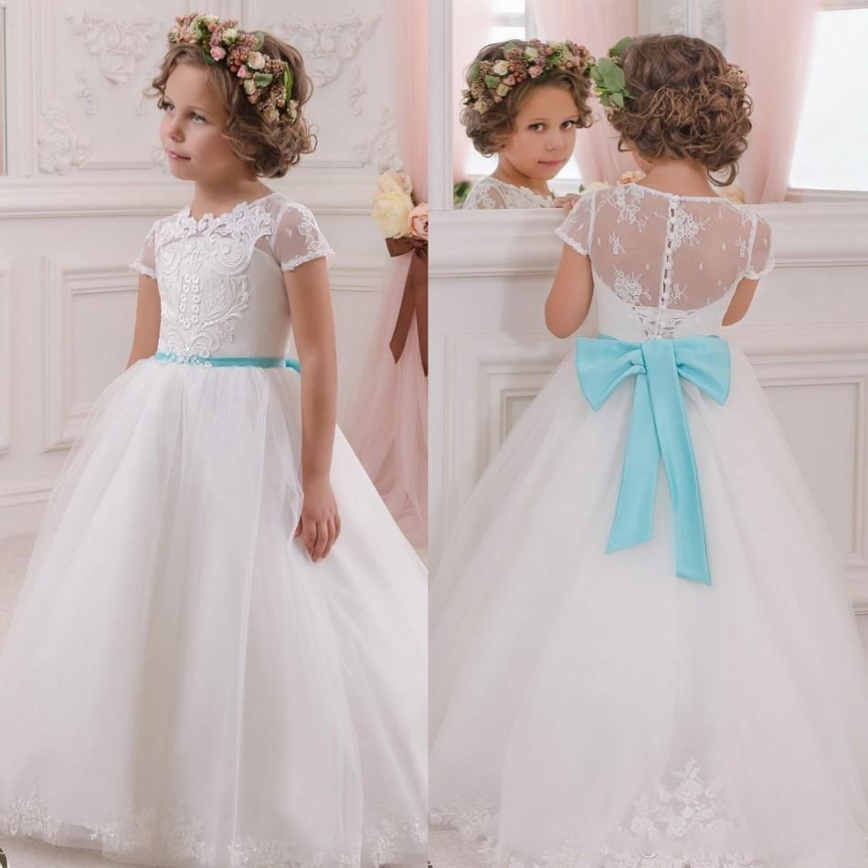 Little Infant Girl Gowns Long Tulle Kids Blue 2016 Vintage White ...