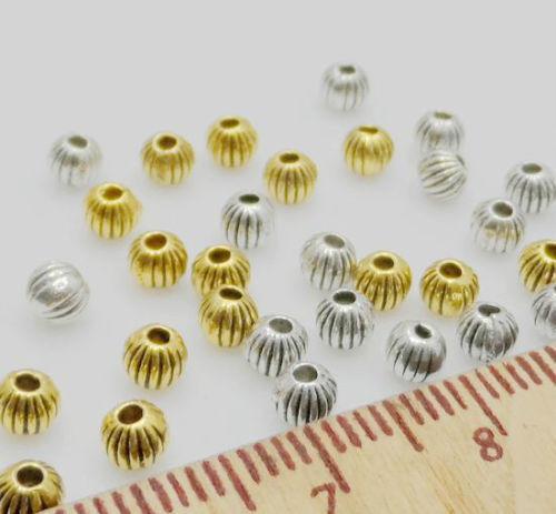 Navio livre Tibetano Prata Glod liga Spacer Beads Para Fazer Jóias 4mm