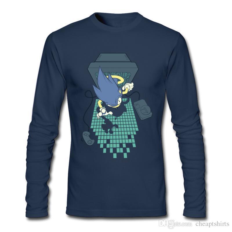 Tshirt uomo autunno e inverno stile gioco t-shirt manica lunga del ragazzo comode camicie sportive maschili puro cotone 7 giorni finchè il gioco è finito.