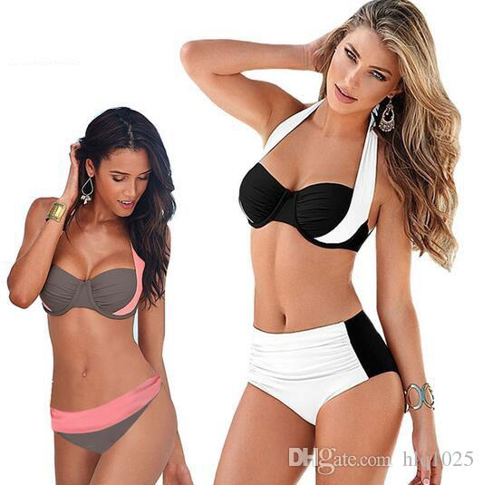 New Sexy Bikinis Women Swimsuit High Waisted Bathing Suits Swim Halter Top Push Up Bikini Set Beach Plus Size