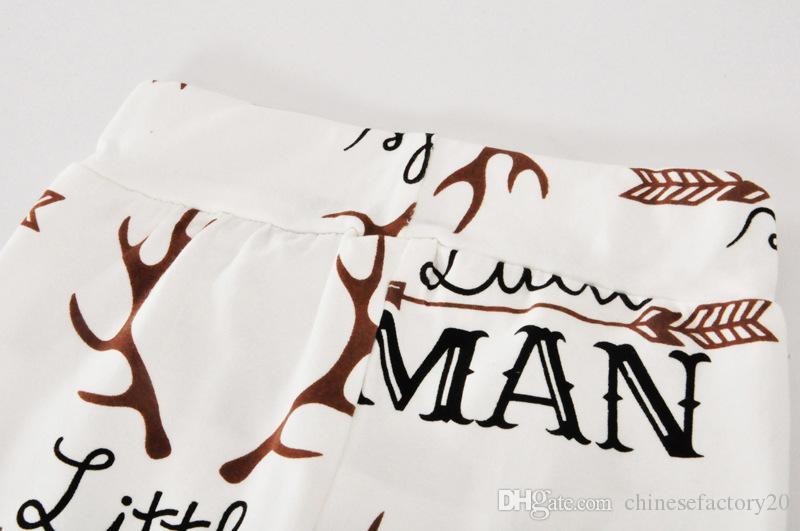 Baby Jungen Mädchen Weihnachten Kleidung Sets Brief gedruckt Langarm Strampler + Pants + Hats Stirnband 3 Stück Outfits