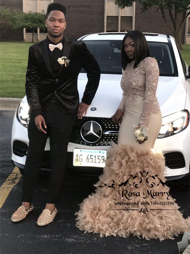 Luxus Gold Feather Mermaid 2k17 Prom Kleider Kristalle Perlen mit langen Ärmeln Plus Size afrikanischen arabischen Mädchen Pageant formale Abendgesellschaft Kleider