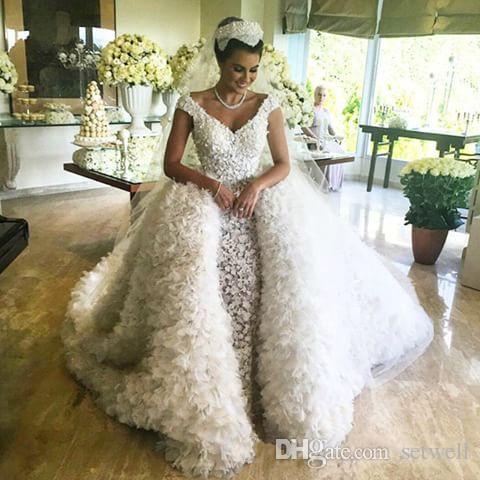 Роскошные 3D аппликация свадебные платья со съемным длинным поездом V-образным вырезом высокое качество свадебное платье на заказ многоуровневые свадебные платья