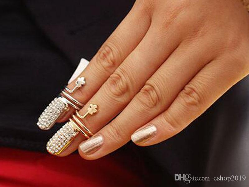 Pop Twisted Pave Rhinestone Finger Nail Ring Tip Jewelry Rings For Women Gold and Silver Best Gifts