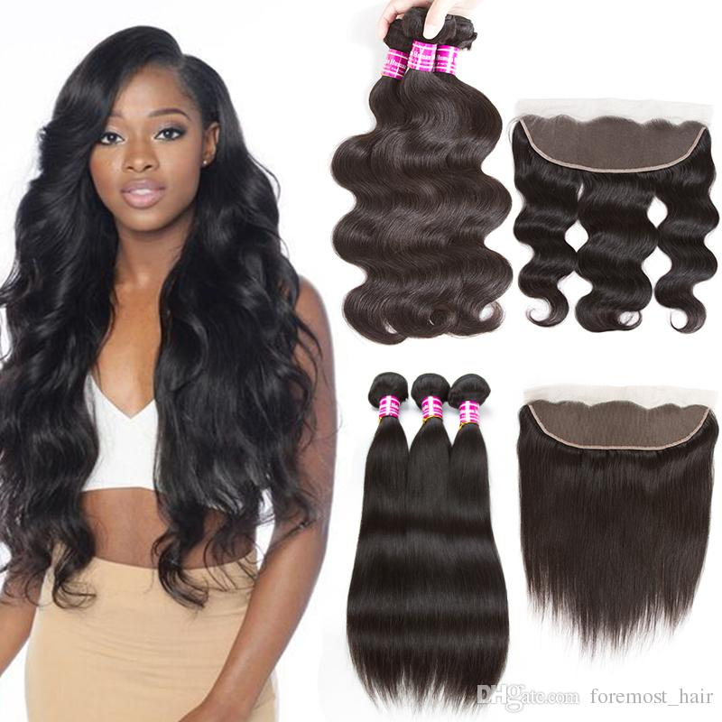 2019 Foremost New Fashion Arrival Black Women S Brazilian Body Wave  Straight Human Hair Weave 3 Bundles With Frontal Closure Peruvian Malaysian  From ... 0119b623ac