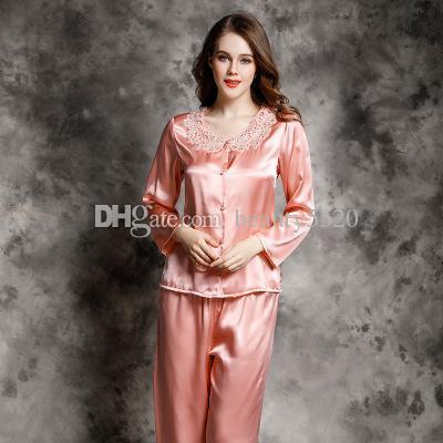 brand new f2466 b78d7 Versandkostenfrei nachtwäsche 100% maulbeerseide damen pyjamas sets  stickerei langen ärmeln stickerei taste nachthemd dessous großhandel