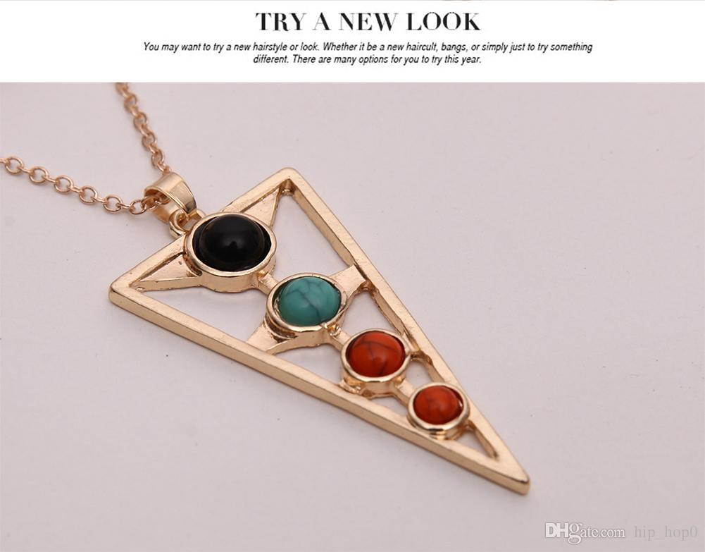 Triangle Shape Zircon Pendant Necklace Geometry Turquoise Colorful Beads Choker Necklace Crystal Rhinestone Jewelry Gifts for Women