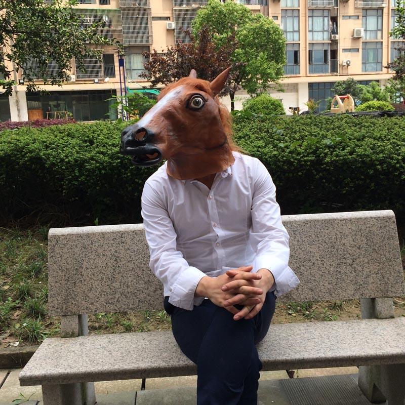 Brown Horse Mask Halloween Party Mask Creepy Cosplay Animal Head Costume Latex Mask