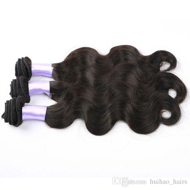 Top Quality Peruvian Malaysian India Brazilian Natural Black Color Weave Wavy Body Waves Hair Bundles Hot Sale