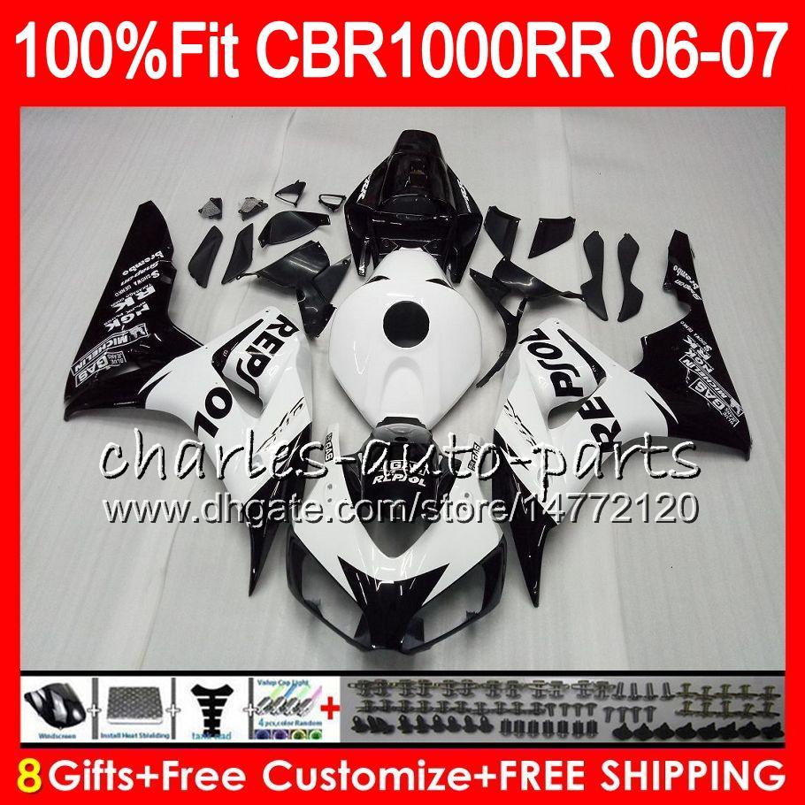 Injection Body For HONDA CBR 1000RR CBR1000 RR 06 07 Bodywork Repsol white 78M18 CBR1000RR 06 07 CBR 1000 RR 2006 2007 Fairing kit 100% Fit