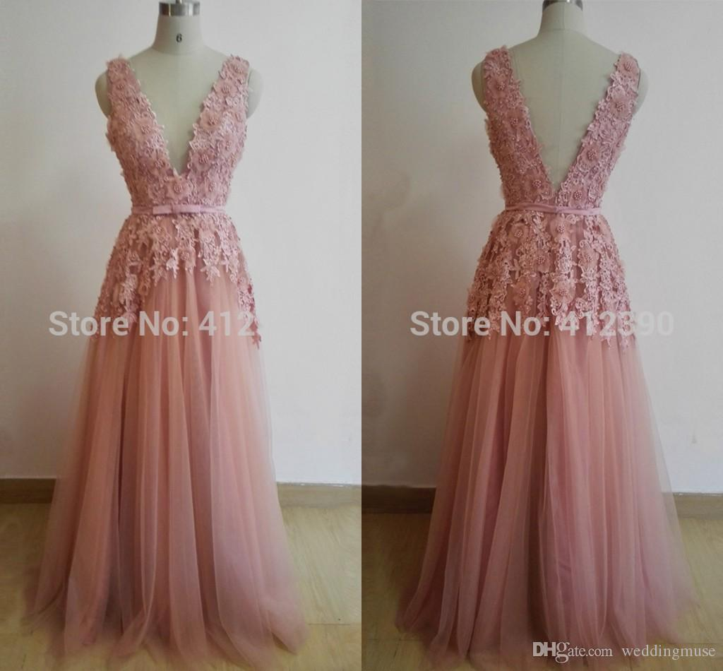 Sexy Blush Pink Dresses Evening Wear Deep V Neck Sleeveless A Line Lace Formal Celebrities Prom Cocktail Party Dress