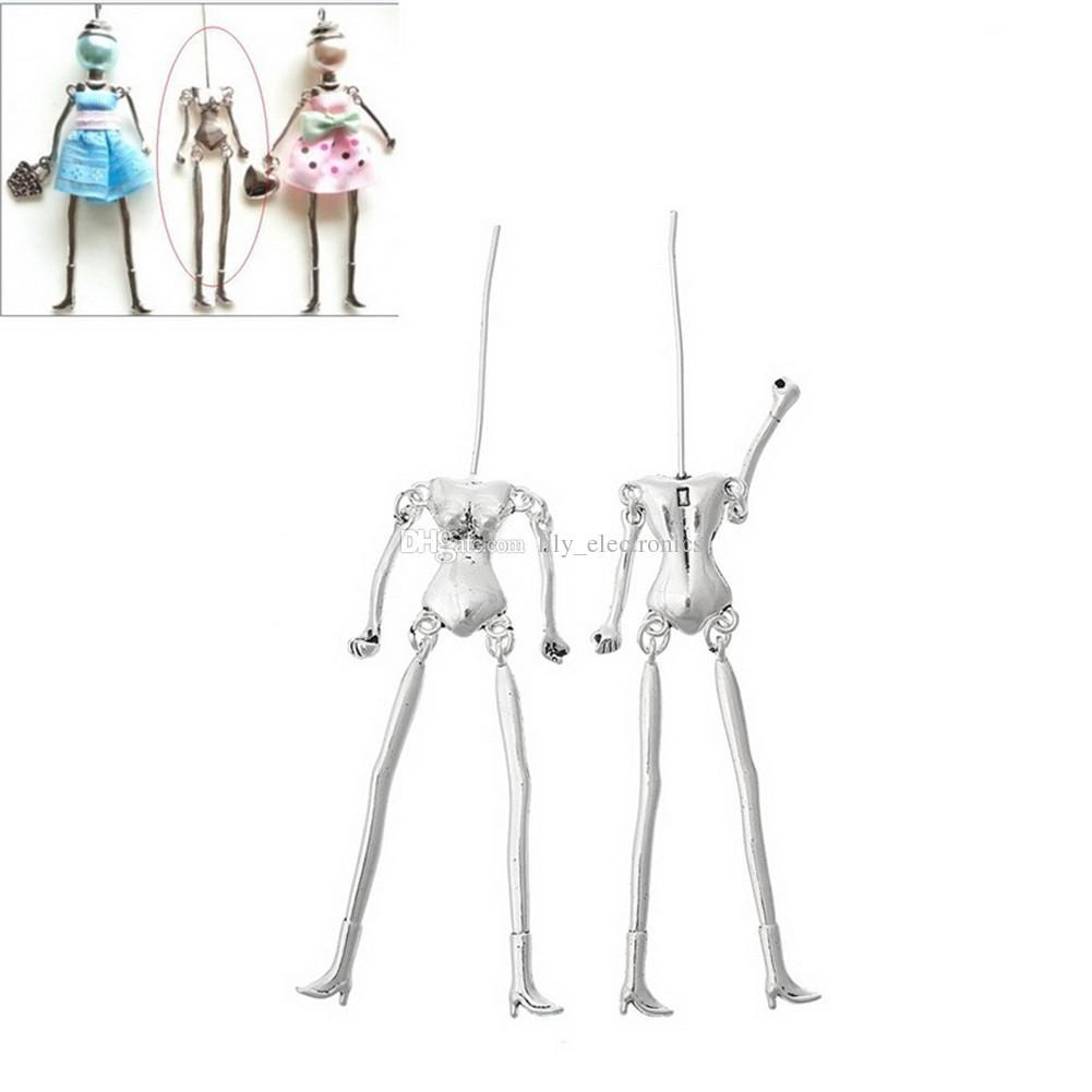 Pendenti della collana dei monili di fascini della lega di zinco del corpo umano misura colore argento / bronze di tono della bambola di DIY,