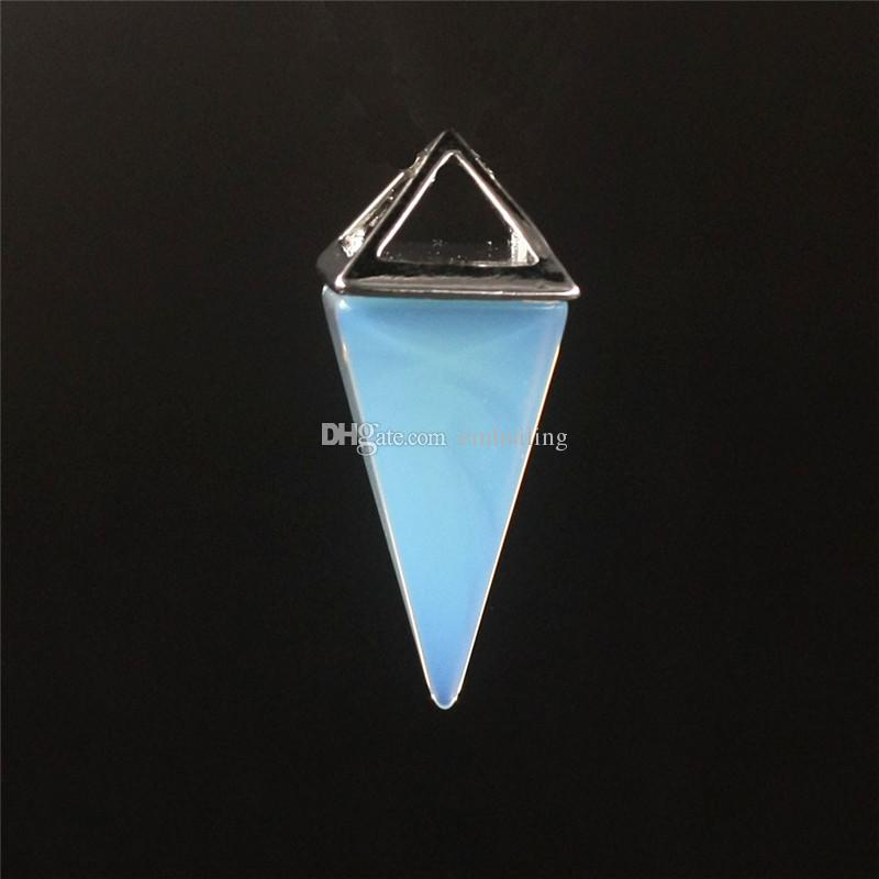 Hot Elegant Beautiful Alternative Stone Clear Crystal Amethyst Blue Sand Opal Agate Quartz Crystal Healing Point Faceted Gem Bead Pendant