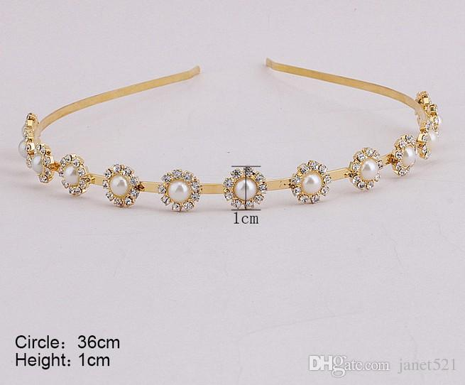 Elegantes nupciales de la boda Crystal Rhinestones Gold Hair Band diadema Tocado Tiara Nupcial accesorios para el cabello Nupcial Piezas de la cabeza