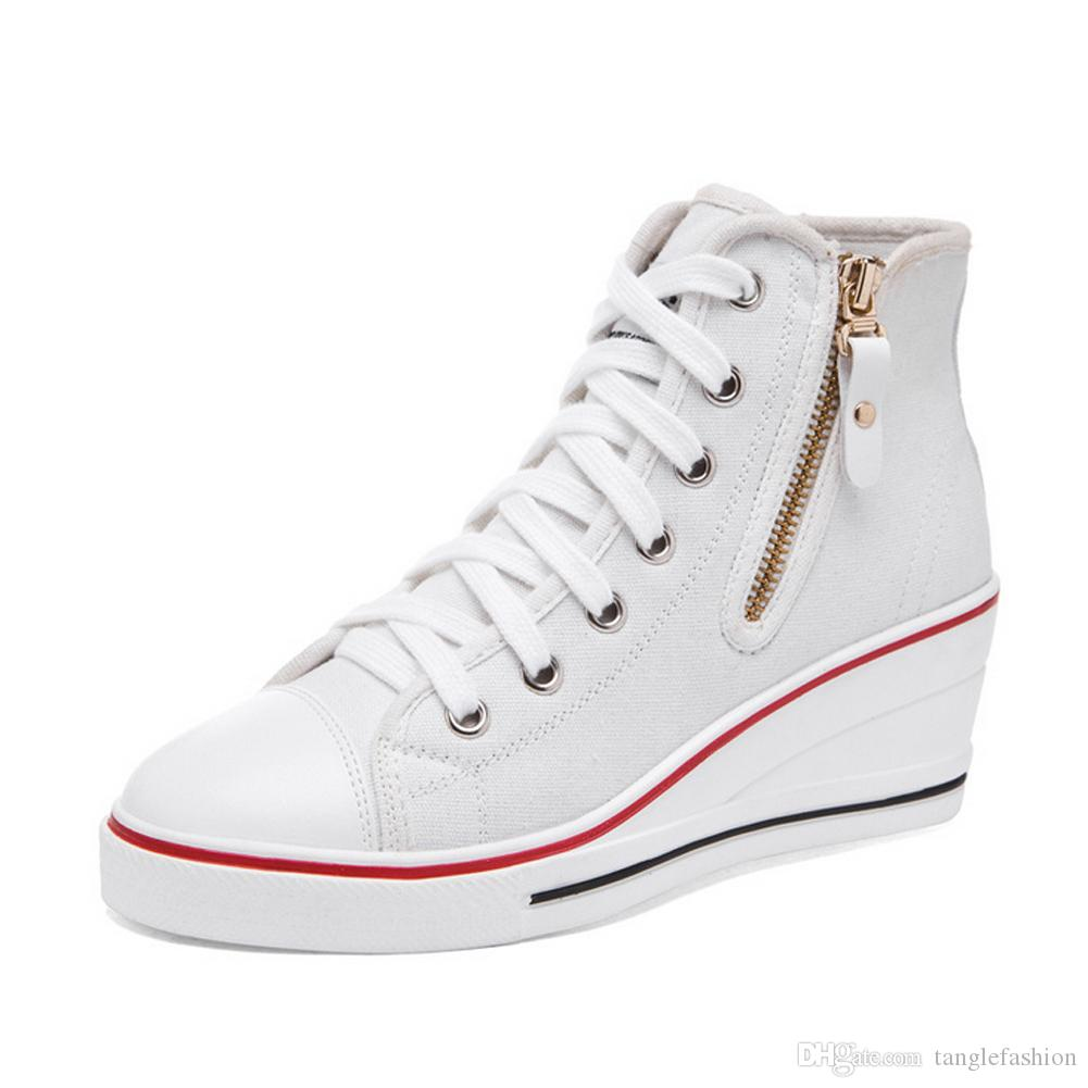 78523317f83bd PP FASHION Formal Wedges Hidden Heel Western Style Shoes Womens High Top  Platform Casual Canvas Sneakers