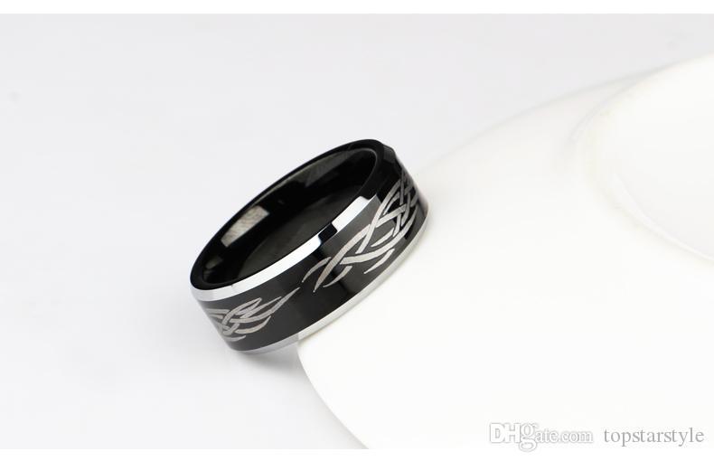 Grabado láser de 8 mm para hombre negro bandas de tungsteno TUR-010