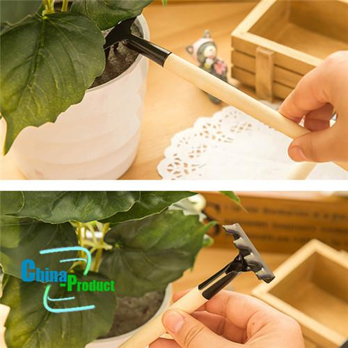 =Mini Garden Tools Small Shovel Rake Spade Wood Handle Metal Head Kids Tool