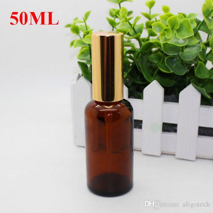Spessa 50ml bottiglie di spruzzo di vetro ambra a 50ml all'ingrosso oli essenziali bottiglia di vetro con pompa nera spruzzatore oro tappo in oro il profumo di cosmetici make up