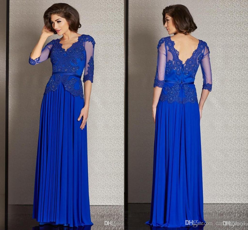 Royal Blue Mother's Dresses V Neck Half Sleeves Chiffon Lace Applique Sequins Beads Long Mother of Bride Groom Dresses Formal Evening Dress