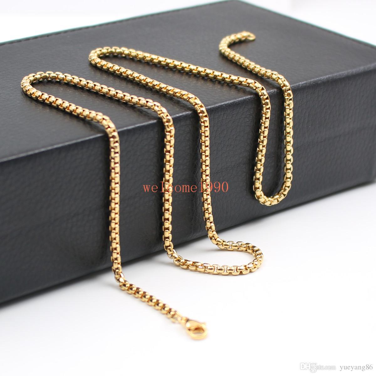 Commercio all'ingrosso monili larghi 3mm Box Rolo Collana a catena in acciaio inossidabile Moda uomo donna gioielli in argento / oro / nero 18 pollici-32 pollici