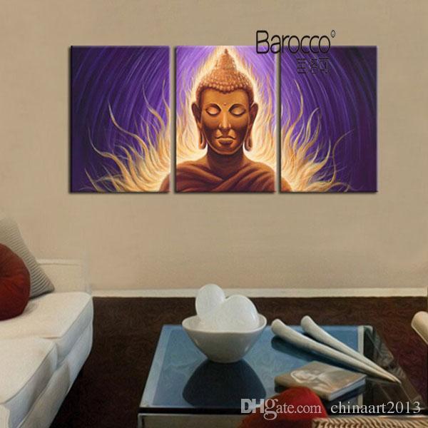 3 Pièces Peint À La Main Figures Peinture à L'huile Sur Toile Moderne Abstrait Peintures De Bouddha Maison Mur Art Décorations Cadeau