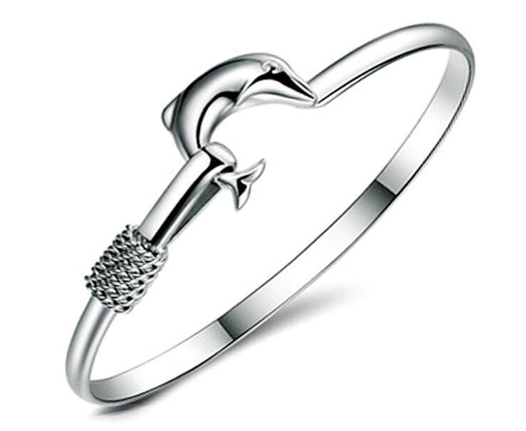 2017 Hot sale factory price 925 silver charm bangle Fine Noble mesh Dolphin bracelet Girl / Madam fashion jewelry