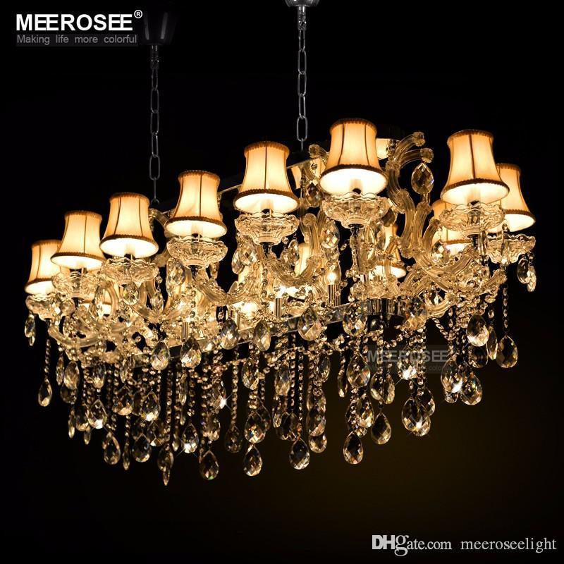Large Hotel Maria Theresa Lights Authentic Cristal Pendants Rectangle  Crystal Chandelier Lamp Foyer Lusters For Dining Room 18 Lights Bedroom  Chandeliers ...