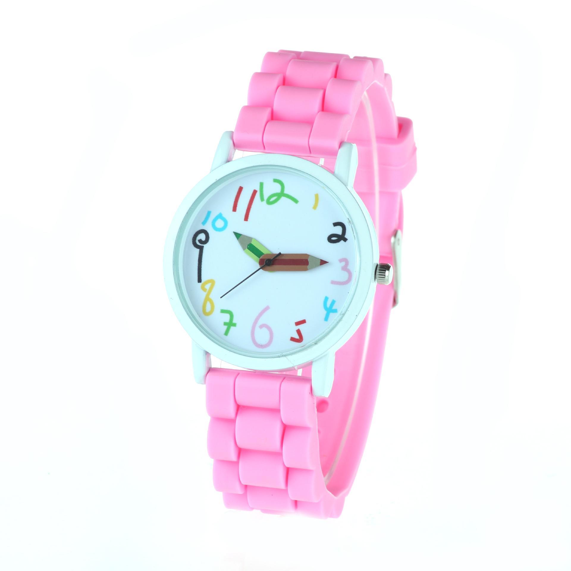 Reloj de imitación de cuero de Ginebra Popular Simple moda dial grande reloj de silicona estudiantes fuente niños creativos reloj dulce color lápiz punto