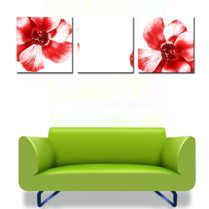 Fashion Art Picture Big Red Flowers Paintings Home Decoration Print on Canvas Wall Art Painting for Bedroom and Living Room