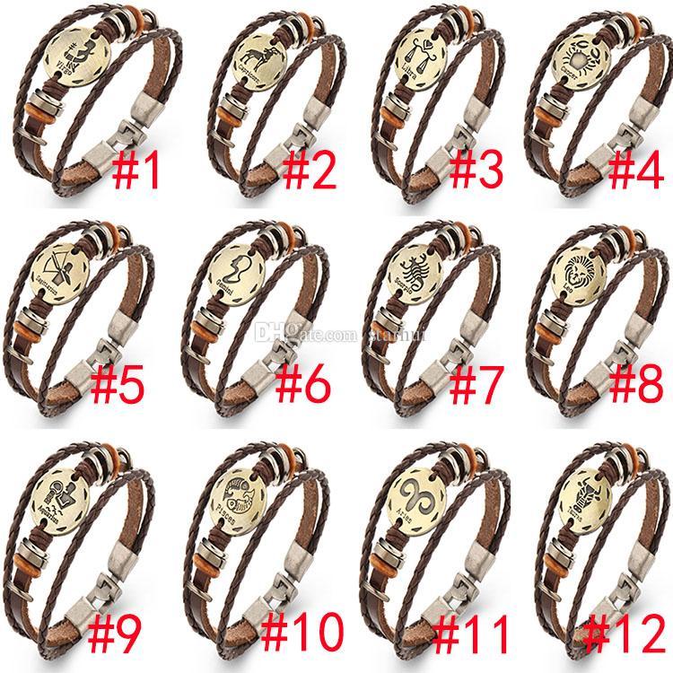 Bilezikler 12 Takımyıldızları Bakır Deri Deri Kordon Örgülü Unisex Punk Rock Retro Bracelete Kadın Erkek Moda Takı XMAS WX-B08